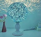 TAIDENG Nachttischlampe, Schlafzimmer Bettdecke kreativ einstellbares Nachtlicht, Hochzeit Massivholz Miniisket Rattan Ball USB Lampe, Hanf Ball LED kleine Lampe, Blue