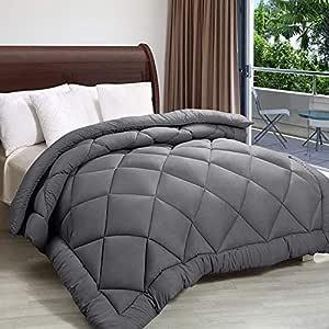 PUM PUM 250 GSM Microfiber Reversible Comforter (King, Grey)