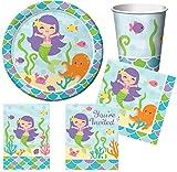Geburtstagsdeko Meerjungfrau (40 Teile) für 8 Mädchen (Teller, Becher, Servietten, Einladungen & Partytüten)