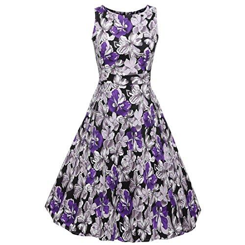 Rocke 50er Jahre Boatneck ärmelloses Vintage Tee Kleid Cocktail Maxi Kleid Sommer mit Gürtel Damen (Farbe : Lila, Size : S) -