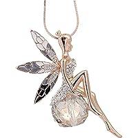 Scpink Angel Wings Collana Donna Lovely Angel Wings Collana di cristallo a farfalla Lunghe offerte di gioielli maglione…