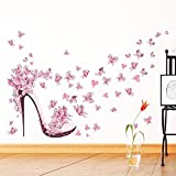 PeiTrade Pink Butterfly Tacchi alti Wall Sticker Decal Art Decorazione per la casa Decorazione per ufficio Wallpaper Wallpaper Art Sticker Decal Wallpaper per casa Camera da letto