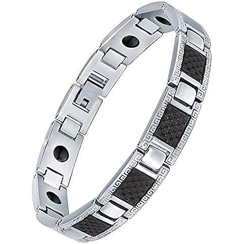 Men's, in acciaio INOX, colore: Nero fibra di carbonio, con motivo a greca, G7003tj-Magnetic Link, lunghezza 21 cm