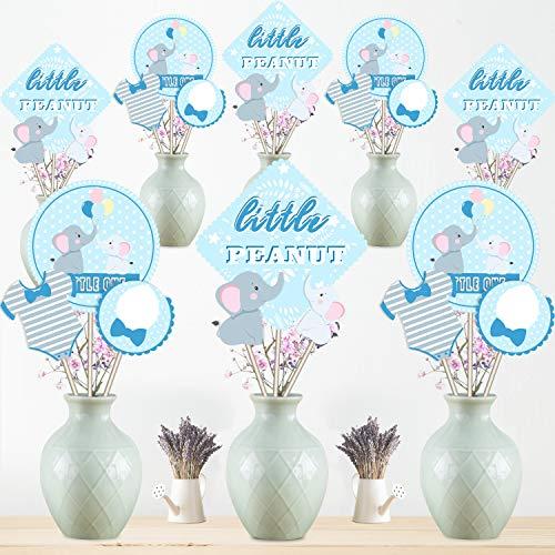 Baby Dusche Dekoration Set Blue Elephant Herzstück Sticks Geburtstagsparty Tischdekoration für Junge Mädchen Geburtstagsparty Lieferungen, 24 Packungen