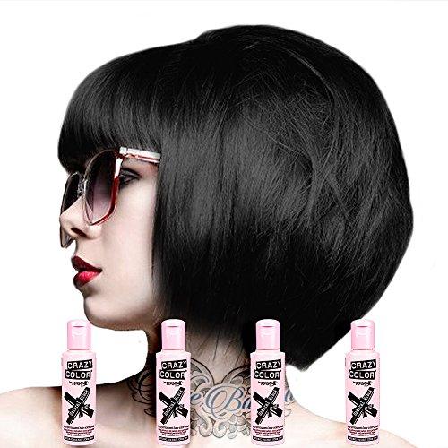 Crazy Color Haartönung 4er Pack 100ml (Natural Black - Schwarz) (Crazy Haar Farbe Dye)