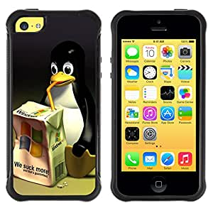 ZAKO Cases / Apple Iphone 5C / Funny Linux Windows Penguin / Robuste Stoßfest Schwarz Kunststoff Case Cover Shell Rüstung Hülle Slim Armor