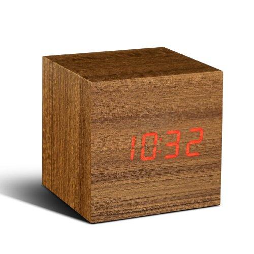 Gingko GK08R4 Würfel-Digitaluhr \'Click Clock\' Teakholz mit roter LED-Anzeige