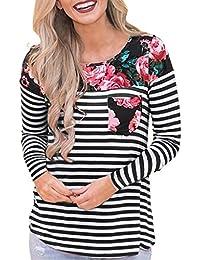 HOUMENGO Camiseta para Mujer, Mujer Top Camiseta Premamá Lactancia Bloque De Manga Larga con Rayas de Flores Multifuncional para Lactancia Tops