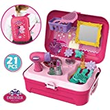 Smartcraft Dresser Backpack Play Set, Pretend Play Dress Up Suitcase Makeup Toys Kit -Set of 21 Pieces (Pink)