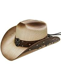 Modestone Straw Sombrero Vaquero Metal Bull Skull   Feathers Concho Studs  Hatband Tan d6d54e70c88