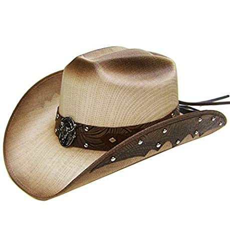Modestone Straw Chapeaux Cowboy Metal Bull Skull & Feathers Concho Hatband Tan