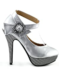Mostrar historia flor Sexy tobillo correa raya estilete bombas zapatos de plataforma, LF30404