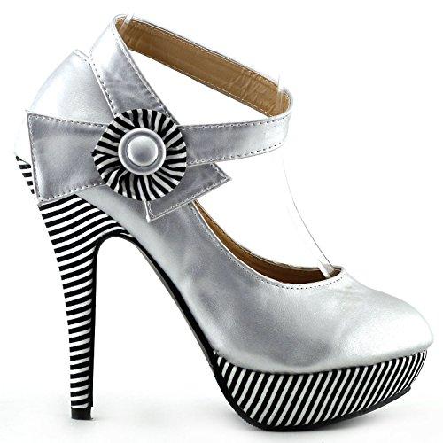 Visualizza Story sexy della caviglia Flower Strap banda stiletto della piattaforma pompa i pattini, LF30404 Argento
