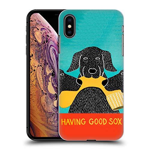 Head Case Designs Offizielle Stephen Huneck Haben Guter Socken Hund-Gruppe Harte Rueckseiten Huelle kompatibel mit iPhone XS Max -