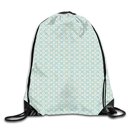 HIDFAA Kordelzug Bag Diagonal Squares with Big Antique Motifs of Flower Mosaic Style Tile Design Drawstring Backpack Bag Beam Mouth Gym Sack Shoulder Bags for Men & Women Diagonal Beam
