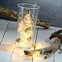 Lunartec Party-Beleuchtung: Party- & Deko-Lichterkette, 5 LED-Glühbirnen, Batteriebetrieb, 150 cm (Lichterketten-Dekobeleuchtung)