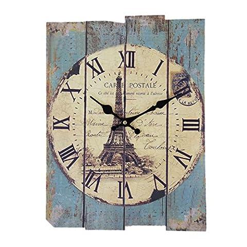 Horloge Murale, CT-Tribe Horloge Silencieuse Pendule Antique Grands Chiffres Romains Décor pour Bureau Cuisine Salon Chambre 30 * 40CM - Type B