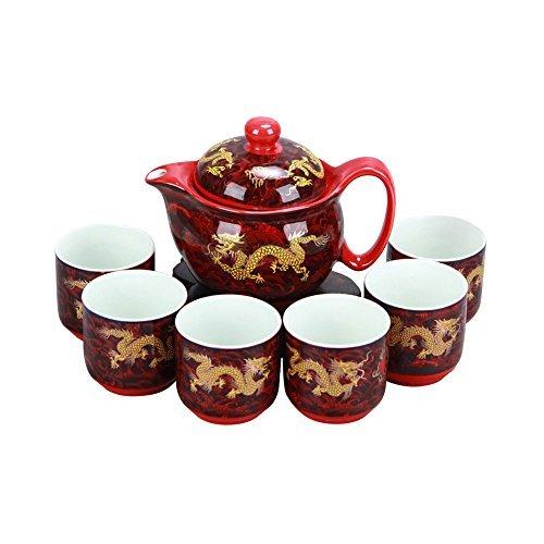 ufengke® Amarillo chino Dragón rojo Porcelana blanca y translúcida 7 Pieza Juego de té