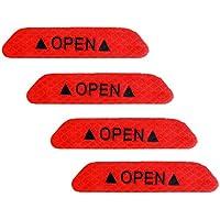 Holdream - Pegatinas Reflectantes para Puerta de Coche, 4 Unidades, Color Rojo