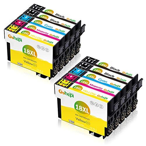 Gohepi Ersatz für 18 18XL Druckerpatronen Hohe Kapazität Kompatibel für Expression Home XP-322 XP-412 XP-305 XP-312 XP-405 XP-425 XP-325 XP-225 XP-215 (4 Schwarz, 2 Cyan, 2 Magenta, 2 Gelb)