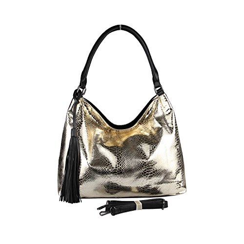 OBC Only-Beautiful-Couture, Borsa tote donna nero Schwarz-Silber 35x29x13 cm xxl Gold 40x30x15 cm