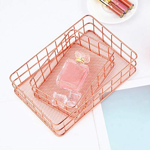 Mrinb Metall Aufbewahrungskorb,Lagerungs Korb Büro Speicher Schreibtisch Organisator Desktop Obstkorb for Kitchen, Bathroom, Closet, Bedroom(Roségold, Platz)
