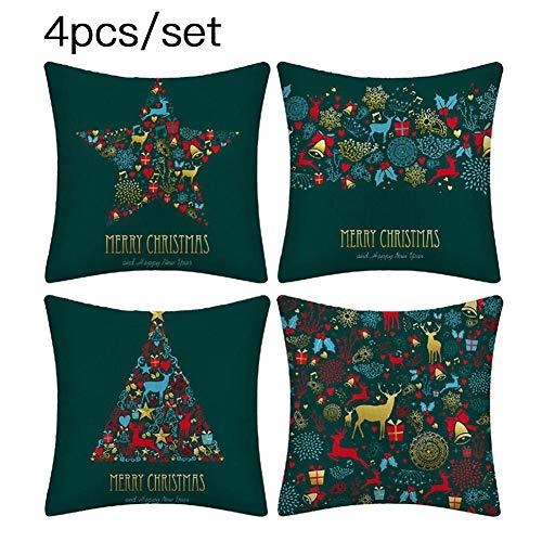 PIONIN Weihnachten Dekokissen,18 Zoll Weihnachten Weihnachtsmann Grün Dekokissenbezug Wohnkultur Baumwolle Leinen Kissenbezug für Hauptdekoration