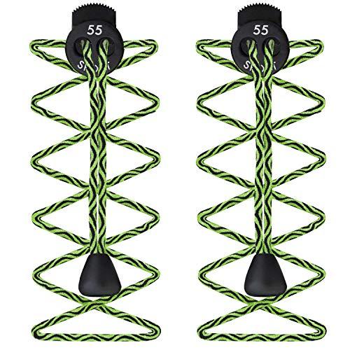 55 Sport - Stringhe elastiche per scarpe da corsa e triathlon con fermacorda, (Zig Zag Green), One Size Fits All