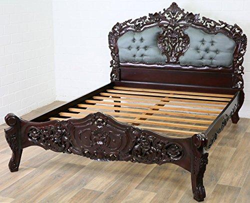 Antikes Bett (MOREKO Barock-Stil Bett Antik-Stil Holzbett Massiv Mahagoni 160 x 200 cm Queensize)