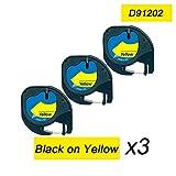 3x Etikettenband 91202 kompatibel 12mm x 4m Dymo LetraTag Kunststoff-Bänder