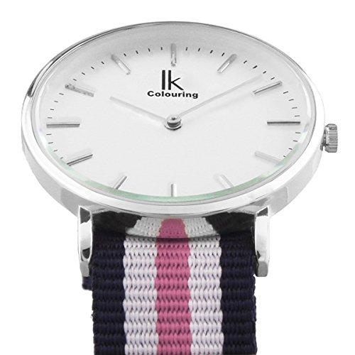Alienwork Classic St.Mawes Quarz Armbanduhr elegant Quarzuhr Uhr modisch Zeitloses Design klassisch silber blau Nylon U04818L-01