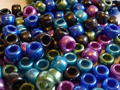 Pony Beads Perlen, blickdicht, 250 Stück, 9 mm x 6 mm, COOL-MIX Armband Geflecht Loom Gummiringe Dummy Clips, Farbe des Schaftes: Kunststoff, Acryl, rund, Ketten-Perlen und Charms -