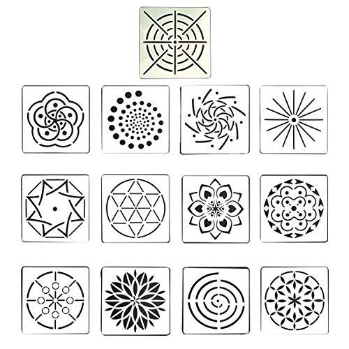 SELIFY 13st Punktierung Malerei Vorlagen Schablonen Set Mandala Backzubehör für DIY Malerei Kunst Handwerk