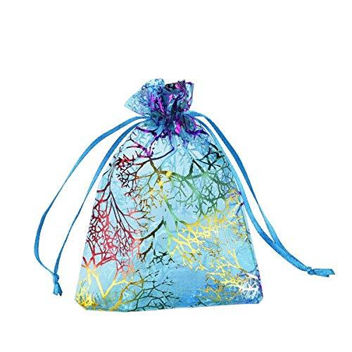 MYAMIA 50Pcs Coralline Organza Geschenktaschen Schmuck Pouch Candy Hochzeitsfeier Bevorzugen Tasche-13 * 18Cm