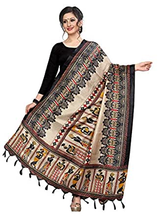 Sidhidata Textile Women's Khadi Cotton Silk Dupatta With Jhalar/tassels (dupatta women black_Multi Colour_Free Size)