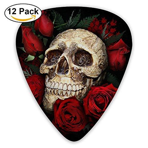 Great Sphinx, plettri classici a piramide egiziana, per chitarra elettrica, chitarra acustica, mandolino e basso (confezione da 12) Taglia unica Sugar Skull And Red Roses