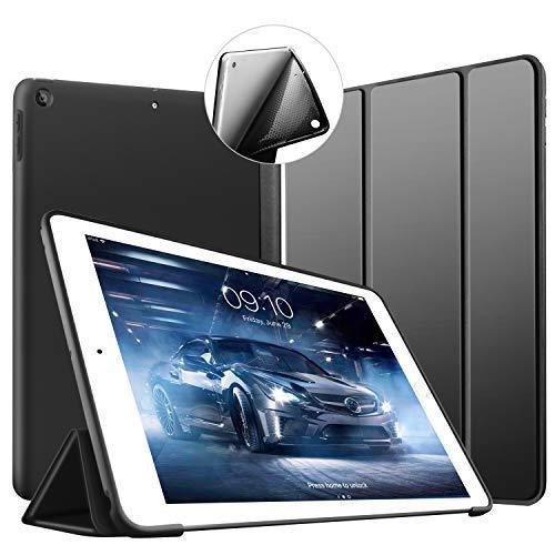 Neues iPad 9.7Zoll 2018/2017Hülle, VAGHVEO Ultra Dünn Smart Case [Auto aufwachen / Schlaf] mit weicher TPU Rückseite Cover für Apple iPad 6/5 Generation (A1893/A1954/A1822/A1823), Schwarz -