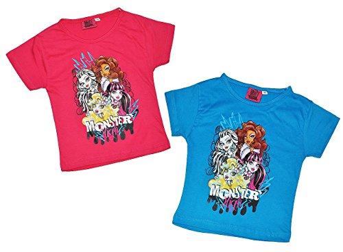 T-Shirt in blau oder pink - Monster High - Größe 4 bis 5 Jahre - Gr. 110 bis 116 - für Mädchen Kinder Shirt kurzarm - Vampir Puppen Kurze Arme (Monster High Haut)