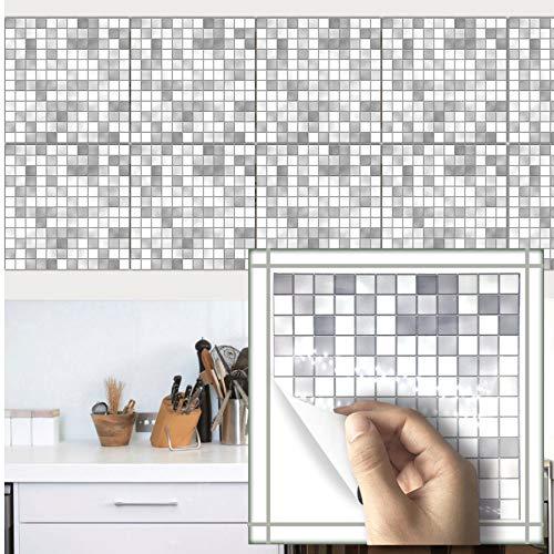 Zlywj Fliesenaufkleber Wandtattoo Mosaik Stil Weiß Grau Muster Wasserdicht Bad Wasserdicht Küche Anti Öl Wand Wohnkultur 15X15 cm 10 Stücke Pro Packung