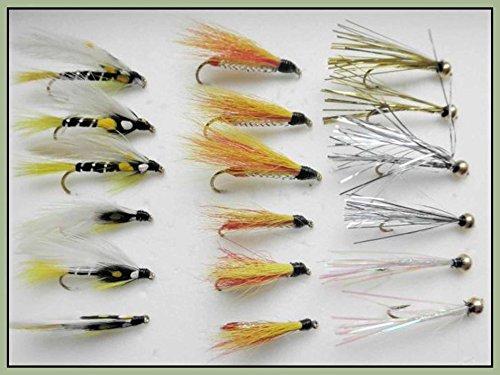 18 Forellenköder mit Micky Fin, Black Ghost, Sparklers in Größe 10, für Fliegenfischen (Ghost Sparkle)