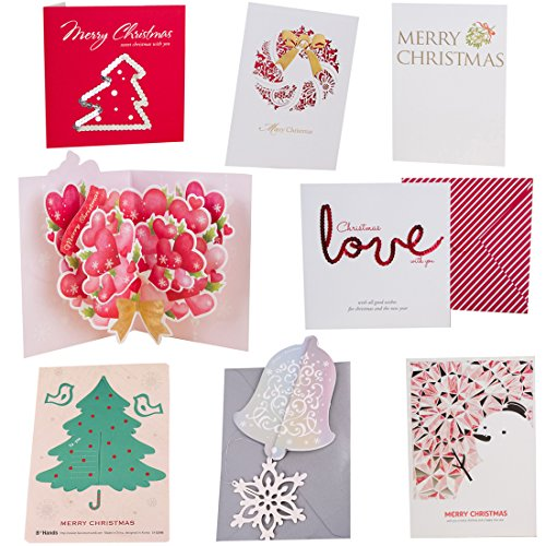 B*Hands BHands Pack Of 24 3D Funny Christmas Cards Set 8 Variety Designs Styles Gift Cardstock Holder Assorted with Envelopes (6)