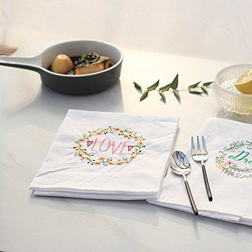 Yazi weiß bestickt Floral Love gemusterter Baumwolle Dinner Servietten Tisch Linens Dekorationen 45x 64,8cm, Set 4 Dinner Servietten Floral