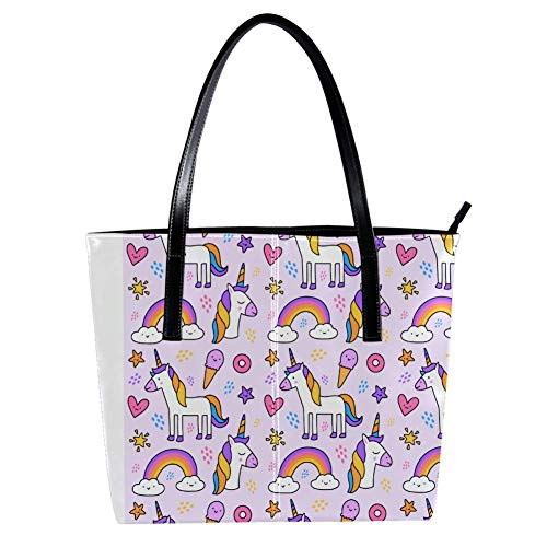 Women's Bag Shoulder Tote handbag with Sweet Lovely Unicorn And Rainbow Print Zipper Purse PU Leather Top-handle Zip Bags (Sweets Magazin)