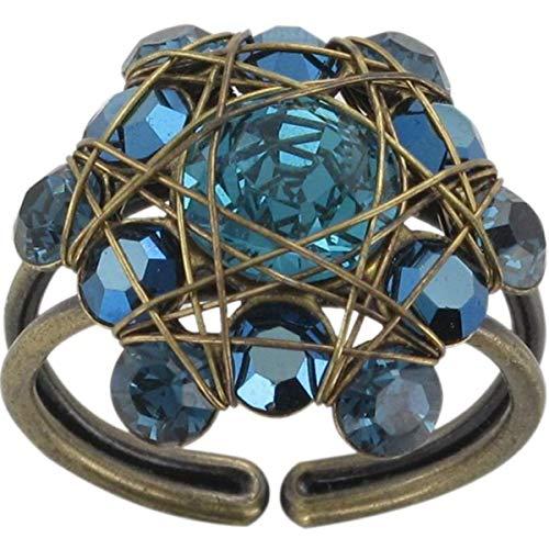 Konplott Ring Bended Lights mit Glitzer-Steinen Blau | Ringe für Damen in vielen Einzigartiger Modeschmuck mit Swarovski Elements