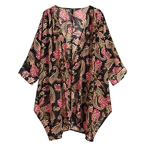 Rot Floral Kimono (Fenverk Damen Chiffon Floral Kimono Leicht Sommer Cardigan 3/4 Arm Beach Cover Up Bikini Boho Strandkleid(rot,XXL))