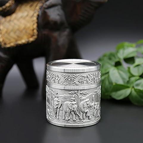 Oriental Zinn–PREMIUM Latching Teedose, Zinn Caddy–tpcs- handgeschnitzt Schöne, geprägt mit Elefanten reinem Zinn 97% bleifreies Zinn handgefertigt in Thailand