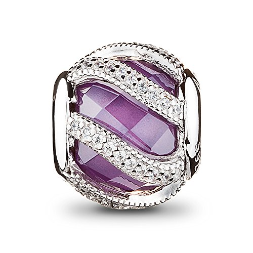 Athenaie platino placcato argento 925 con perle viola cz libera intreccio radiance charm