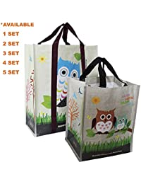 COMBO SET (5 XL + 5 Mini = 10 Pcs) EcoJeannie Super Strong Laminated Woven Reusable Shopping Tote Bags (Avail:...