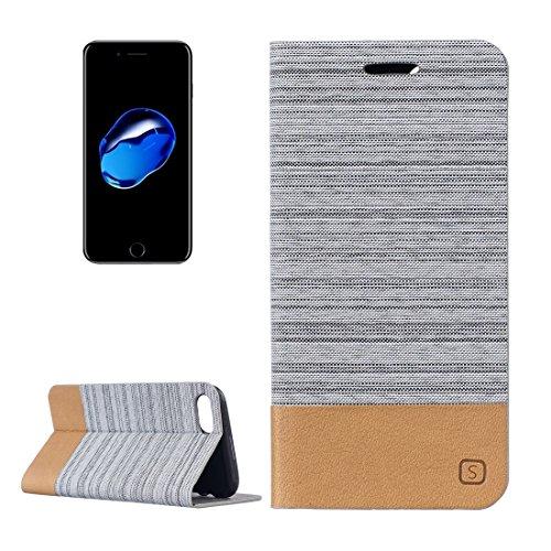 Hülle für iPhone 7 plus , Schutzhülle Für iPhone 7 Plus Leinwand Pattern PU + TPU Horizontale Flip Leder Tasche mit Halter & Card Slots ,hülle für iPhone 7 plus , case for iphone 7 plus ( Color : Grey Grey