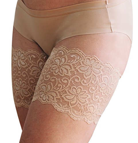 """Bandelettes Dolce Elastic Lace Thigh Bands, Prevent Rubbing and Chafing, Beige Size E (73-76 cm/29""""- 30"""")"""